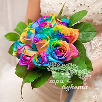 Букет невесты из радужных роз